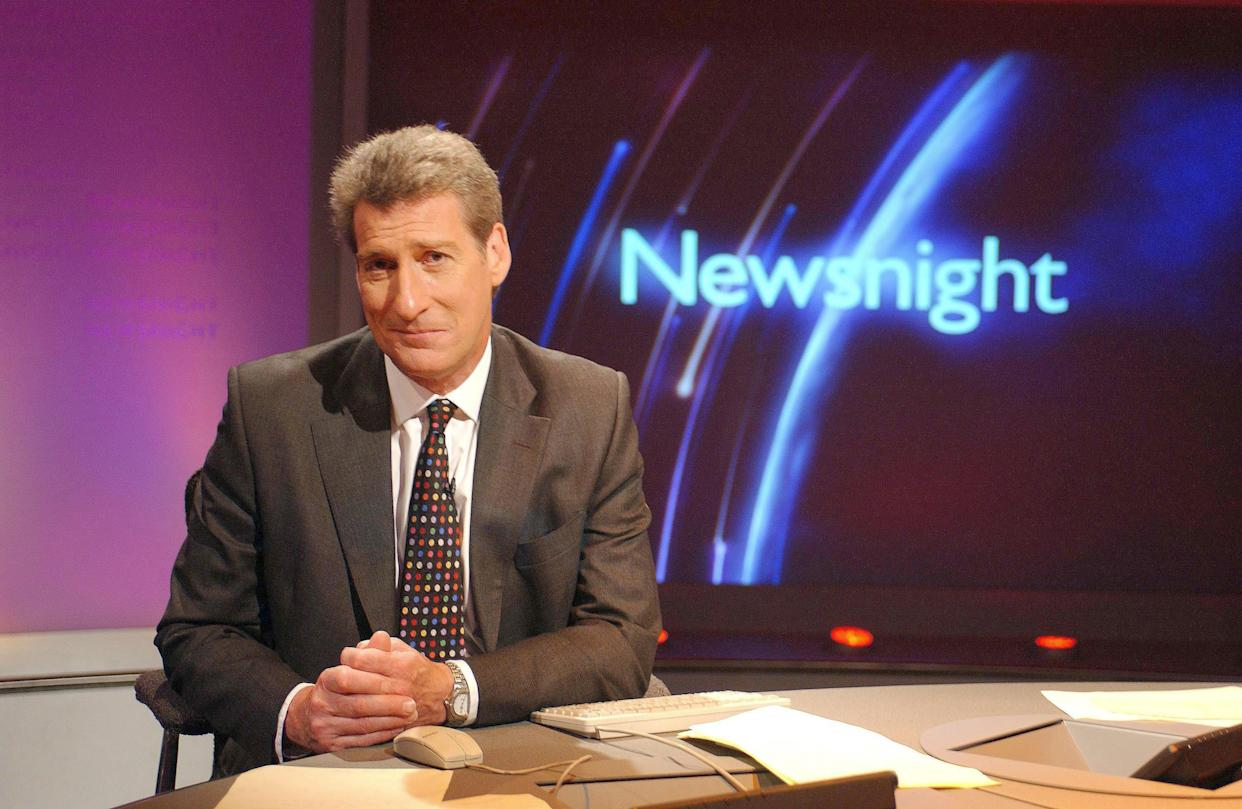 Newsnight presenter Jeremy Paxman dated 24 June 2002 on the new Newsnight set, Jeremy Paxman has criticised plans by the corporation's management to cut its news and current affairs budget by 15% The Newsnight presenter said he did not understand how the BBC could justify the cuts when it was spending millions of pounds moving staff out of London.The cuts are part of a reorganisation of the corporation ordered by director general Mark Thompson requiring every part of the BBC to make 15% cuts. . (Photo by Jeff Overs/BBC News & Current Affairs via Getty Images)
