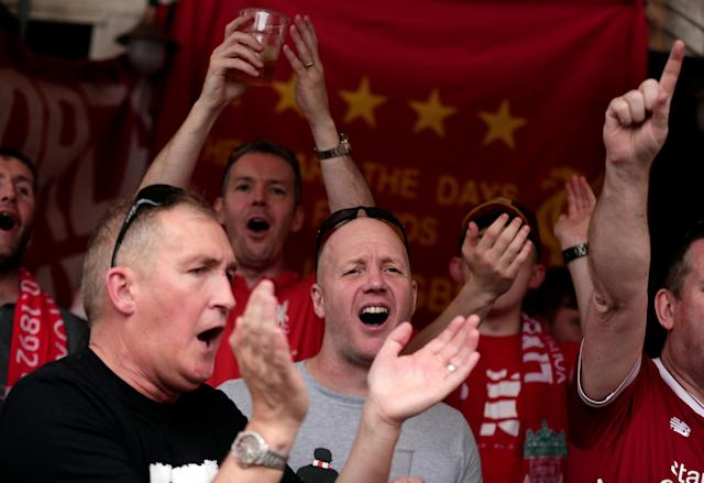 Liverpool supporters sing before the AS Roma vs Liverpool Champions League semi-final soccer match in Rome, Italy May 2, 2018. REUTERS/Yara Nardi