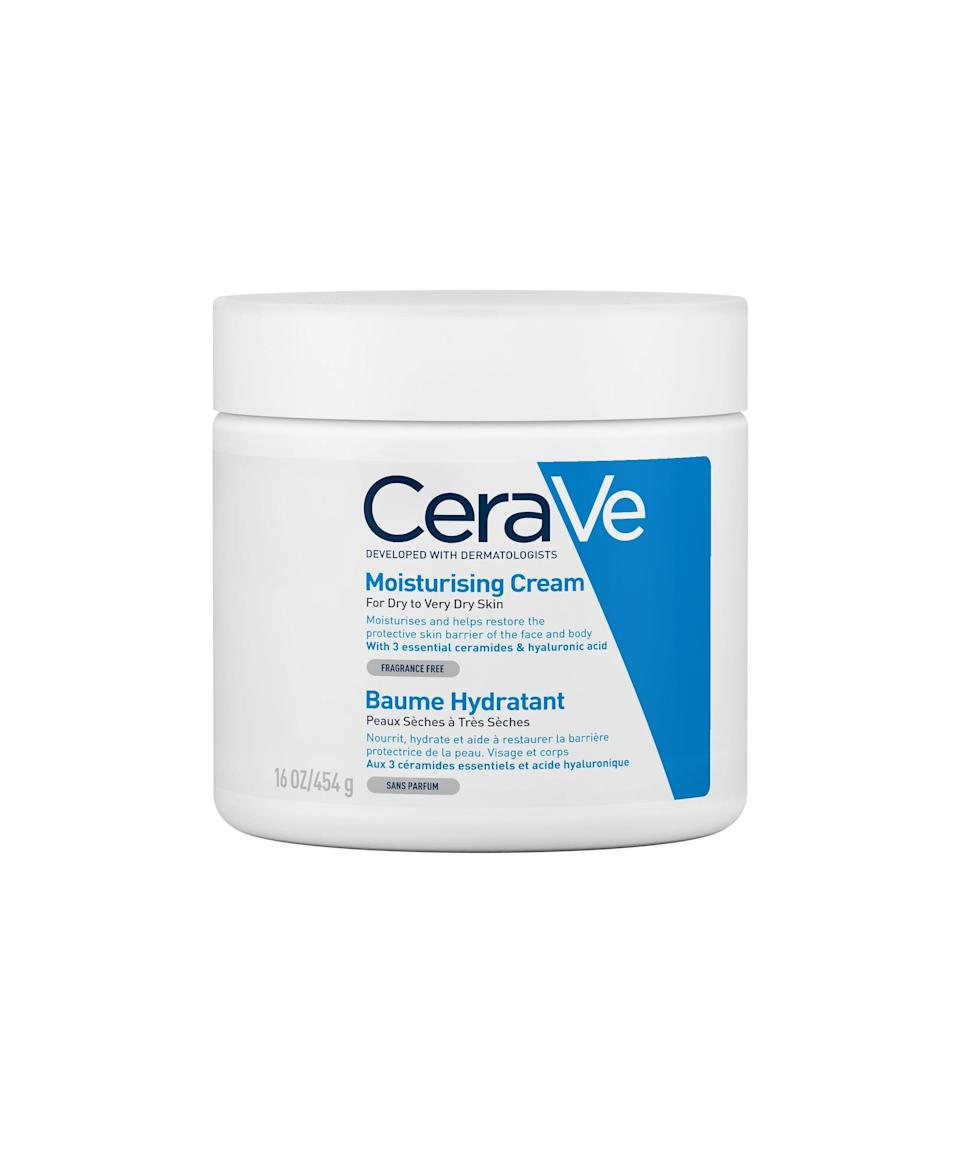 """<strong><h2>CeraVe Moisturising Cream</h2></strong> <br>If you want instant hydration that lasts all-day long, this face and body moisturiser is the one for you. The non-greasy formula sinks into skin quickly so you won't get trapped inside your clothes post-shower. The rich, cream texture leaves limbs feeling silky soft. <br><br><strong>CeraVe</strong> Moisturising Cream, $, available at <a href=""""https://www.superdrug.com/Skin/Body-Care/Body-Creams/CeraVe-Moisturising-Cream---Dry-to-Very-Dry-Skin-454g/p/769993?utm_source=refinery29&utm_medium=dirbuy_display&utm_content=oap_skin_moisturiser_display_aw&utm_campaign=cer_skin_brand_core&cleansing-refinery29-partnership_h3-non-pharma_&dclid=CLXfidXj6vICFQFnGwodGCQOHQ"""" rel=""""nofollow noopener"""" target=""""_blank"""" data-ylk=""""slk:Superdrug"""" class=""""link rapid-noclick-resp"""">Superdrug</a>"""