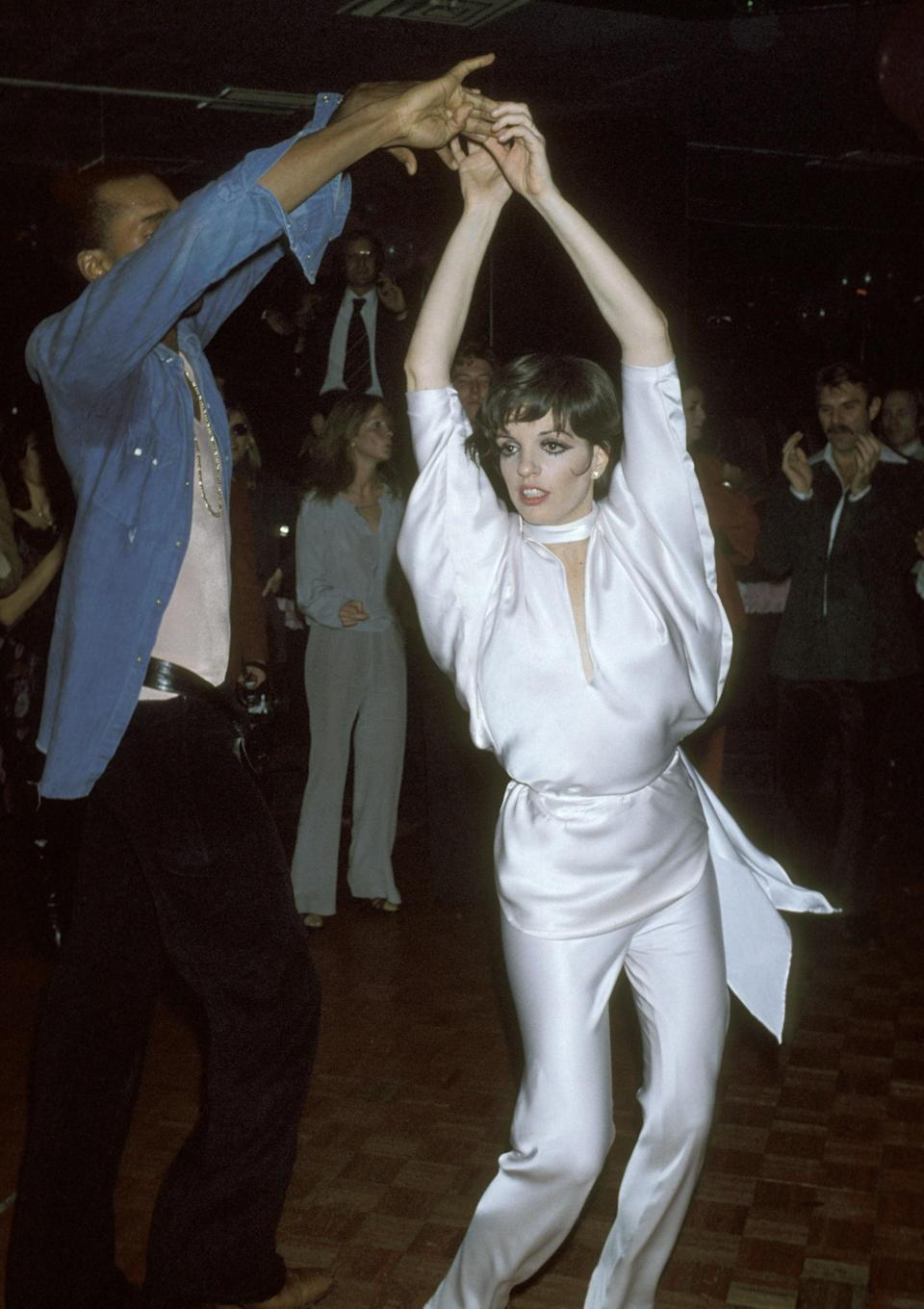 Sterling St Jacque and Minnelli dance at Lorna Luft's 25th birthday party, New York, 21 November 1977