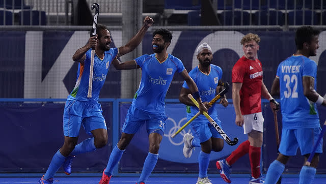 India's Gurjant Singh celebrates after scoring against Great Britain in the men's hockey semi-finals. In what was a historic feat, the India men's hockey team reached the semi-finals of the Olympics after 49 years, beating Great Britain 3-1. They will face Belgium in the semi-finals on Tuesday. AP