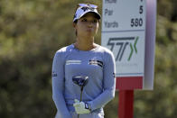 Lydia Ko of New Zealand watches her drive on the seventh hole during the third round of the Marathon Classic LPGA golf tournament Saturday, Aug. 8, 2020, at the Highland Meadows Golf Club in Sylvania, Ohio. (AP Photo/Gene J. Puskar)