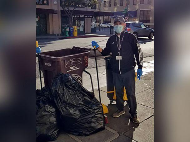 PHOTO: Lam Le works as an ambassador for Oakland Chinatown Asian Health Services where he cleaned streets and escorted elders during an escalation of hate crimes against Asian Americans and Pacific Islanders in 2020. (Nancy Ukai via Tsuru for Solidarity)