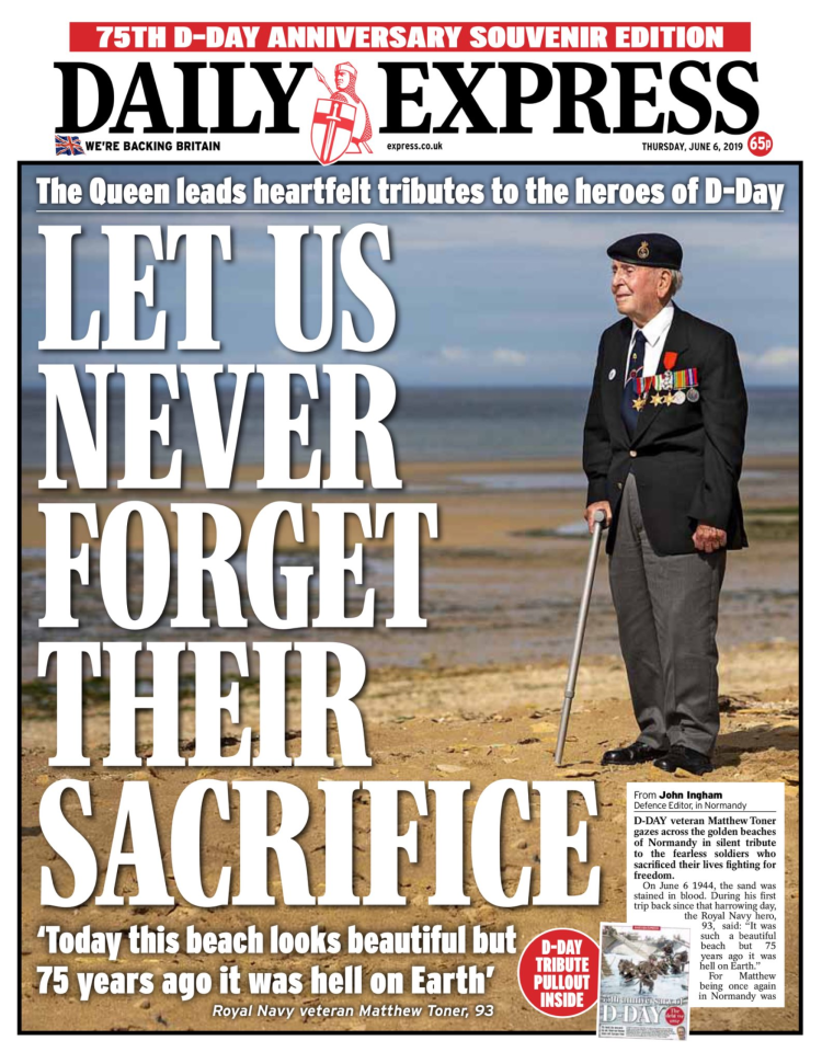 The Express showed D-Day veteran Matthew Toner on the beach in Normandy