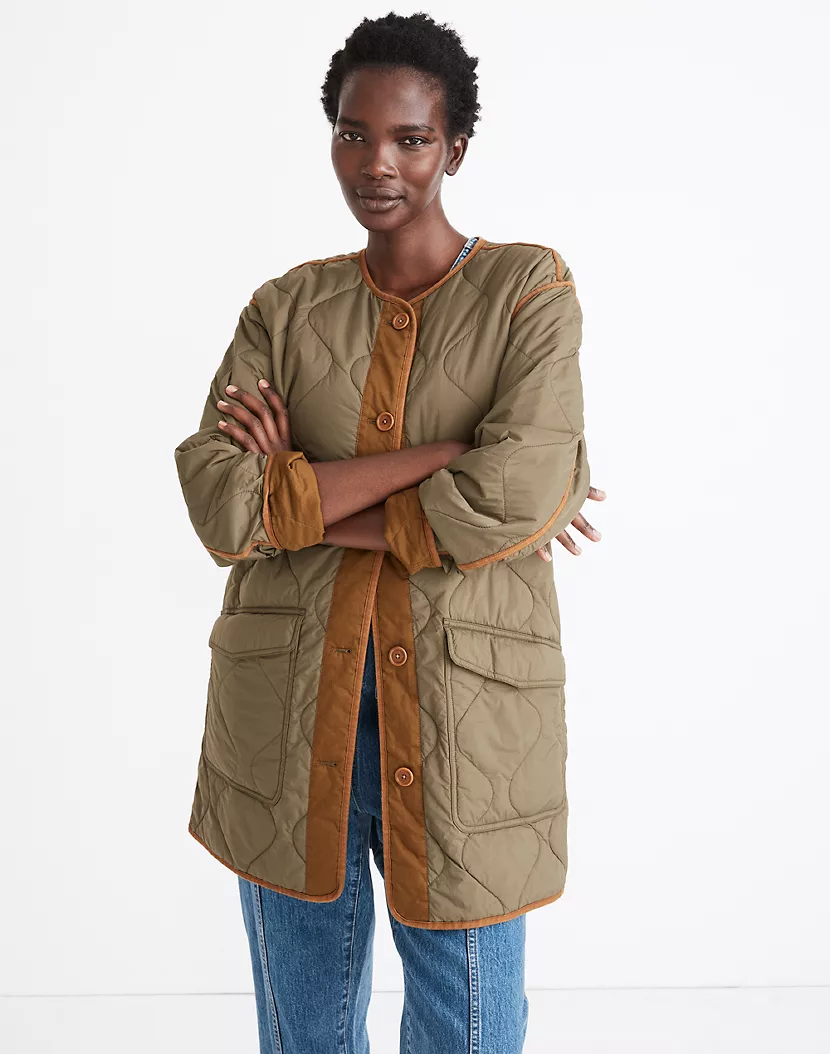 "<br><br><strong>Madewell</strong> Reversible Quilted Liner Jacket, $, available at <a href=""https://go.skimresources.com/?id=30283X879131&url=https%3A%2F%2Fwww.madewell.com%2Freversible-quilted-liner-jacket-MA286.html"" rel=""nofollow noopener"" target=""_blank"" data-ylk=""slk:Madewell"" class=""link rapid-noclick-resp"">Madewell</a>"