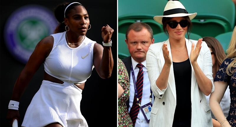Meghan watched Serena's victory at Wimbledon on Thursday. [Photos: Getty/PA]
