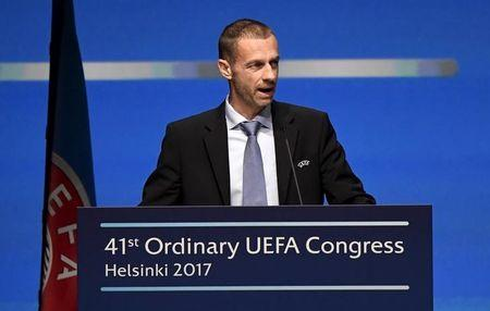 UEFA President Aleksander Ceferin speaks during the 41st Ordinary UEFA Congress at the Fair Centre Messukeskus in Helsinki