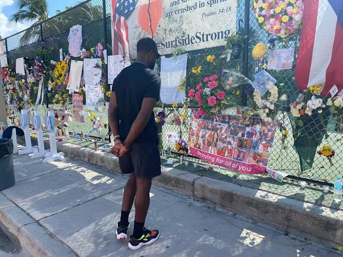 Former Miami Heat star Dwyane Wade came to Surfside, spoke with rescue workers before their shift and spent some moments at the memorial for those lost in the Champlain Towers South tragedy.