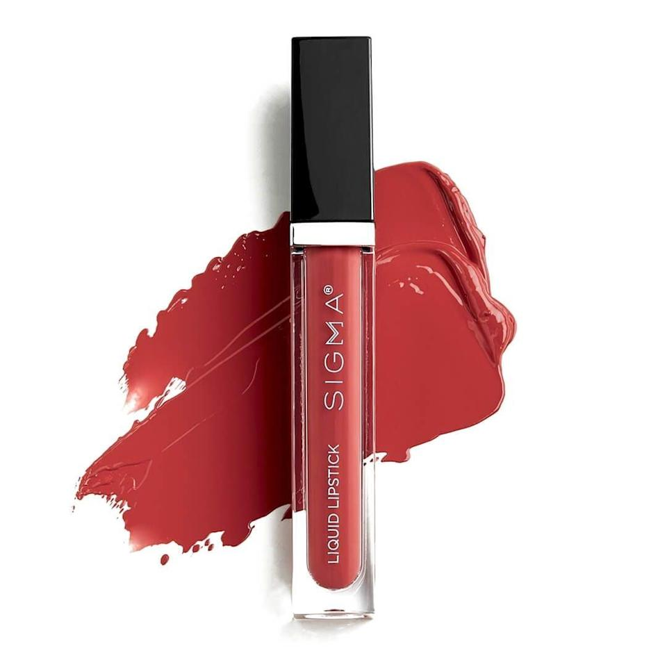 <p>The <span>Sigma Liquid Lipstick</span> ($20) is budge-proof. One swipe creates a vibrant, opaque lip look across the lips, while additional layers just ensure it stays on all day. </p>