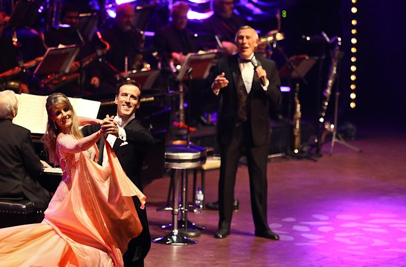 LONDON, UNITED KINGDOM - MAY 03: (EXCLUSIVE COVERAGE) Erin Boag, Anton Du Beke and Bruce Forsyth perform on stage at Royal Albert Hall on May 3, 2012 in London, United Kingdom. (Photo by Christie Goodwin/Redferns via Getty Images)