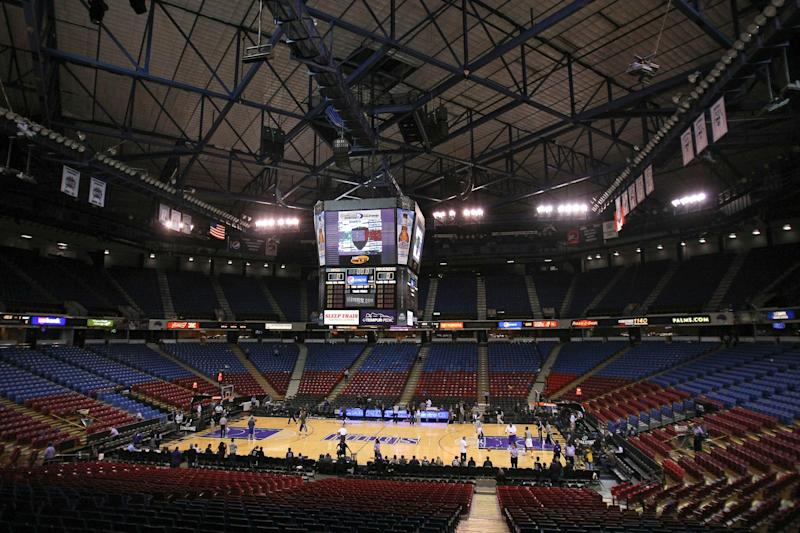 A look inside the Sleep Train Arena, where the Sacramento Kings used to play. The facility is being converted into an alternative care facility to help treat the expected surge of coronavirus cases.