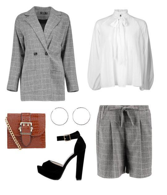 Try this cute gridded blazer and shorts with a tie-neck blouse and you're set for a posh lunch out in the town with your ladies or gents.
