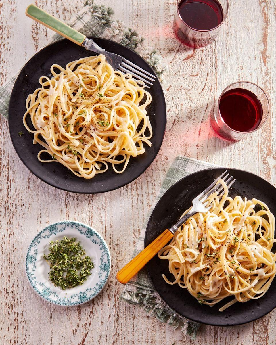 """<p>This elegant-enough-for-a-date dinner only has four main ingredients: pasta, butter, cream, and Parm!</p><p><strong><a href=""""https://www.countryliving.com/food-drinks/a36875881/fettuccini-alfredo/"""" rel=""""nofollow noopener"""" target=""""_blank"""" data-ylk=""""slk:Get the recipe"""" class=""""link rapid-noclick-resp"""">Get the recipe</a>.</strong></p>"""