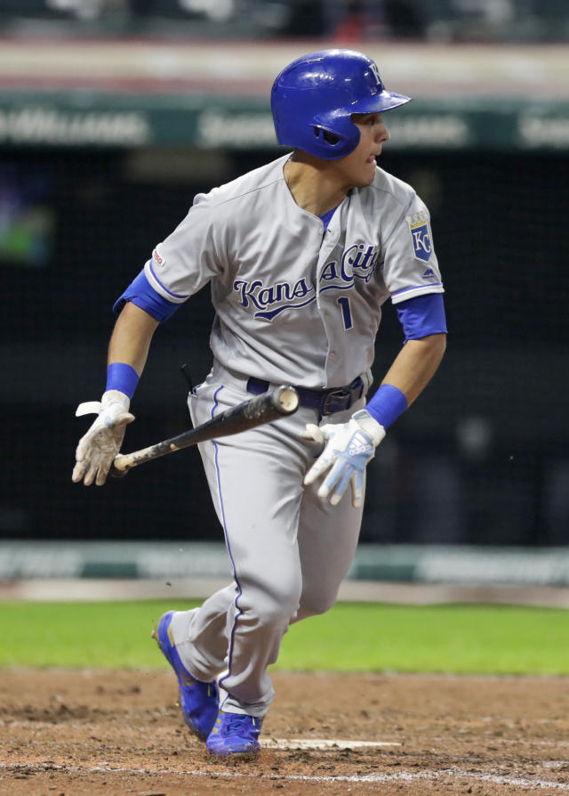 Kansas City Royals' Nicky Lopez watches his ball after hitting a one-run double in the eighth inning in a baseball game against the Cleveland Indians, Monday, June 24, 2019, in Cleveland. Terrance Gore scored on the play. (AP Photo/Tony Dejak)