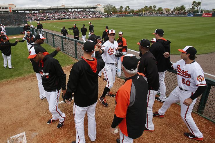 Baltimore Orioles starting pitcher Ubaldo Jimenez, center, leaves the bullpen after warming up for his first appearance in an exhibition baseball game since being acquired by the Orioles this spring as a free agent, against the Philadelphia Phillies in Sarasota, Fla., Friday, March 7, 2014. (AP Photo/Gene J. Puskar)