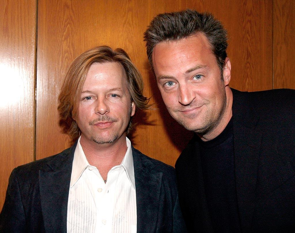 "David Spade and Matthew Perry showcased their trademark smirks. Jeff Vespa/<a href=""http://www.wireimage.com"" target=""new"">WireImage.com</a> - October 14, 2008"