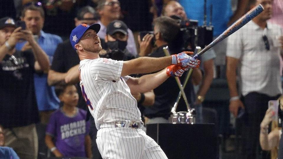 Jul 12, 2021; Denver, CO, USA; New York Mets first baseman Pete Alonso hits during the 2021 MLB Home Run Derby.