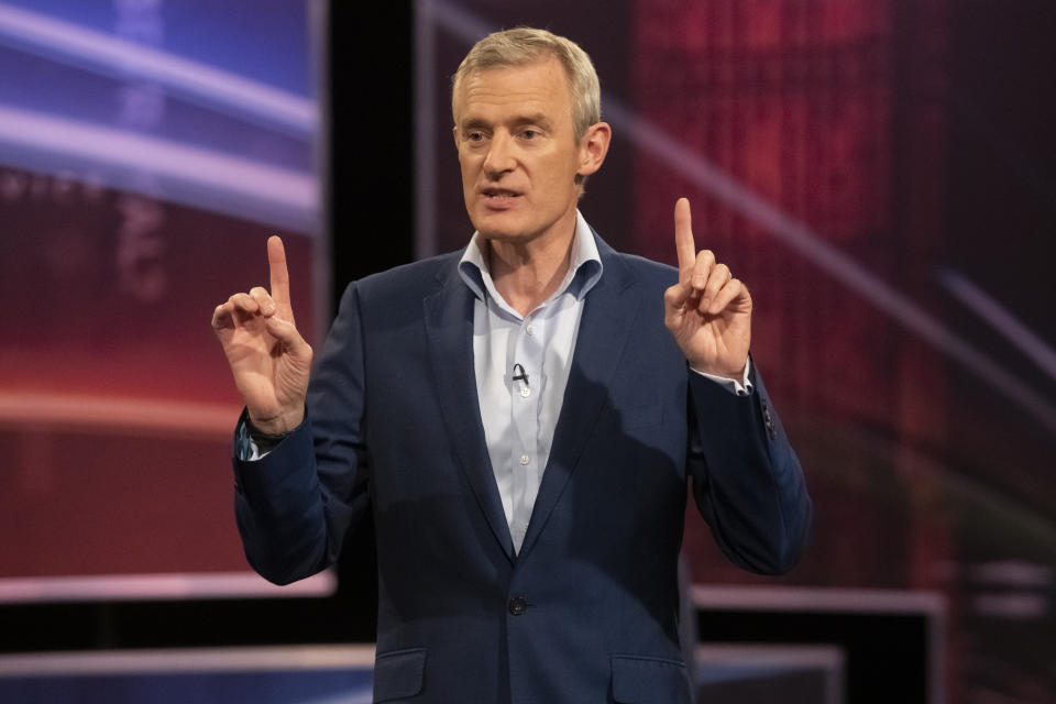 Host Jeremy Vine speaking at Channel 5's 'Are Politicians Up to It?' debate, hosted by Jeremy Vine at the Hospital Club in London. (Photo by David Mirzoeff/PA Images via Getty Images)