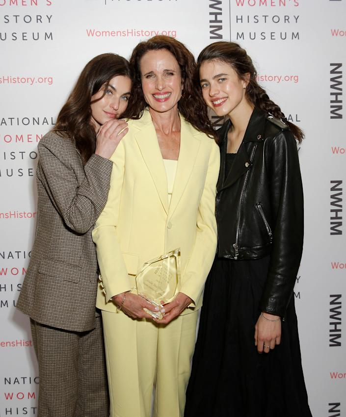 Rainey Qualley, Andie MacDowell, and Margaret Qualley in 2020.