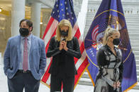 Paris Hilton, center, who has spoken out about the abuses she said she experienced at Provo Canyon School, center, was an advocate for the passage of SB127 along with fellow activists Jeff Netto, who spoke to Utah legislators and Caroline Lorson, with the advocacy group Breaking Code Silence. Activists and supporters gathered in the Capitol rotunda in Salt Lake City, Tuesday, April 6, 2021, for a ceremonial bill signing of SB127 that will bring more oversight to the state's so-called troubled-teen industry. (Leah Hogsten/The Salt Lake Tribune via AP)
