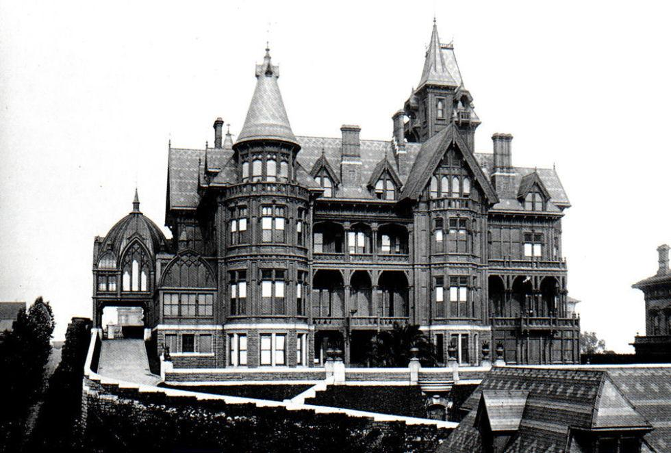 <p>Mark Hopkins never got to see the mansion that he commissioned a pair of prominent architects to build for him and his wife atop San Francisco's Nob Hill; the railroad magnet died before its completion in 1878. Sadly, we'll never get to see it, either—the decadent Victorian palace burned down following the 1906 San Francisco earthquake. But Mary, Mark's widow, did get to experience the majestic home, living in it for several years before marrying the interior designer she hired to furnish it.</p>
