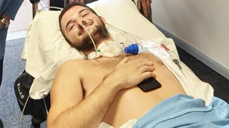 Taylor Gough, pictured here in hospital after his accident.
