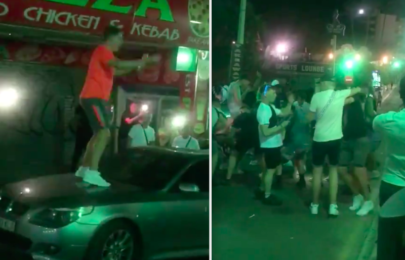 British tourists were filmed on the Magaluf party strip of Punta Ballena. (Twitter/@GuillEsteban)