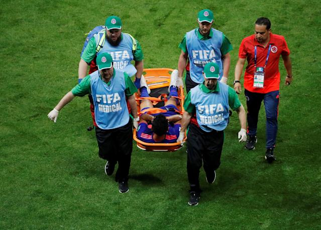 Soccer Football - World Cup - Group H - Poland vs Colombia - Kazan Arena, Kazan, Russia - June 24, 2018 Colombia's Abel Aguilar is stretchered off by medical staff after sustaining an injury REUTERS/Jorge Silva