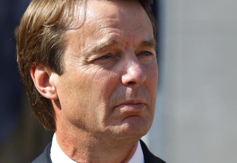 FILE - In this May 31, 2012 file photo, ex-presidential candidate John Edwards speaks outside a federal courthouse after his campaign finance fraud case ended in a mistrial, in Greensboro, N.C. Jurors acquitted Edwards on one charge and deadlocked on the other five, unable to decide whether he used money from two wealthy donors to hide his pregnant mistress while he ran for president and his wife was dying of cancer. His mistress, Rielle Hunter, has written a memoir about herself and her relationship with Edwards, and their daughter, set to be released June 26. (AP Photo/Chuck Burton, File)