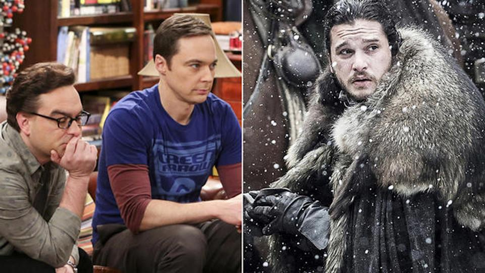 Johnny Galecki and Jim Parsons in Big Bang Theory and Kit Harington in Game of Thrones. (Photo: CBS/HBO)
