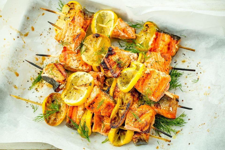 """<p>Lemony salmon kebabs are about to be your go-to for grilling season.</p><p>Get the recipe from <a href=""""https://www.delish.com/cooking/recipe-ideas/recipes/a47375/mediterranean-salmon-skewers-recipe/"""" rel=""""nofollow noopener"""" target=""""_blank"""" data-ylk=""""slk:Delish"""" class=""""link rapid-noclick-resp"""">Delish</a>.</p>"""