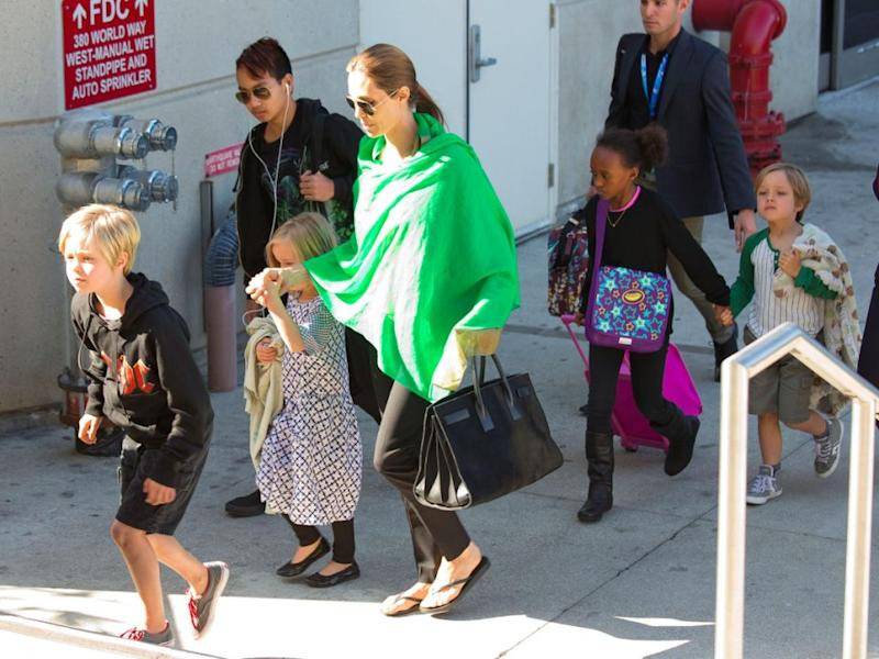 Ange and five of her children in 2014. Source: Getty