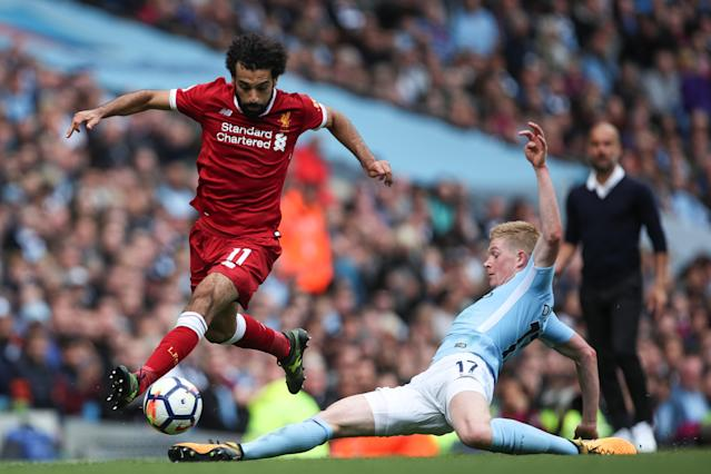 "Mohamed Salah and <a class=""link rapid-noclick-resp"" href=""/soccer/players/kevin-de-bruyne/"" data-ylk=""slk:Kevin De Bruyne"">Kevin De Bruyne</a> have been the two best players in the Premier League thus far. (Getty)"