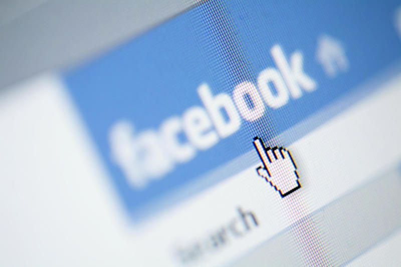 Pictured: Cursor hovering over Facebook logo. Image: Getty
