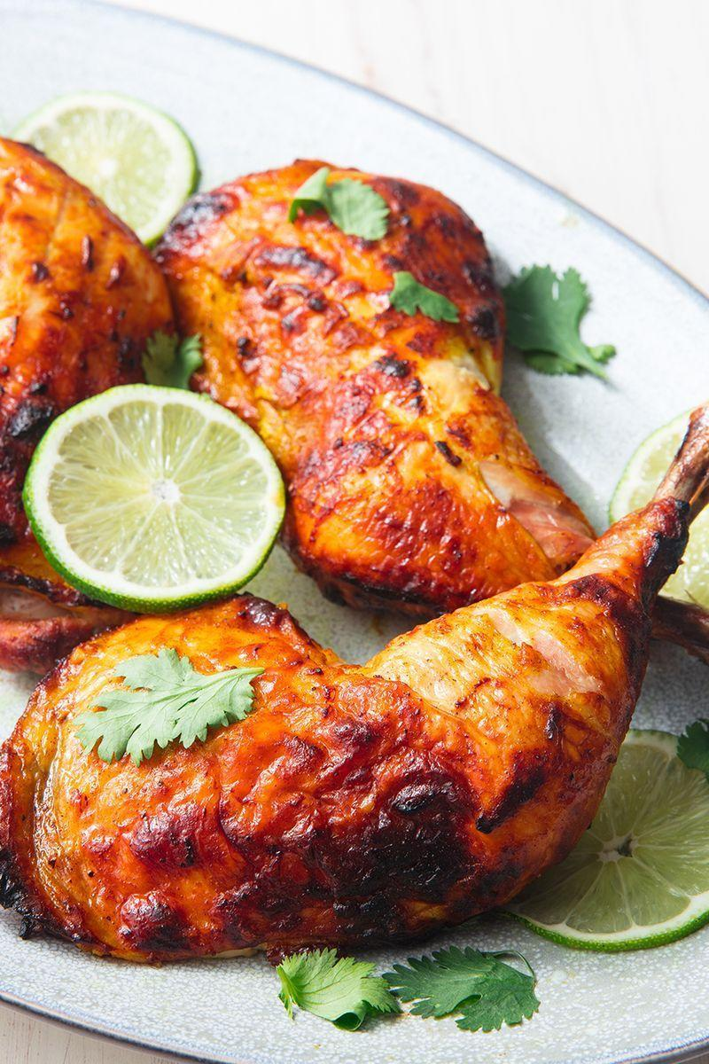 """<p>There's no getting around the marinating time here—the spiced yoghurt mixture is key to super flavourful and tender chicken. If you don't have 2 hours, give it at least 30 minutes. </p><p>Get the <a href=""""https://www.delish.com/uk/cooking/recipes/a28841239/tandoori-chicken-recipe/"""" rel=""""nofollow noopener"""" target=""""_blank"""" data-ylk=""""slk:Tandoori Chicken"""" class=""""link rapid-noclick-resp"""">Tandoori Chicken</a> recipe. </p>"""