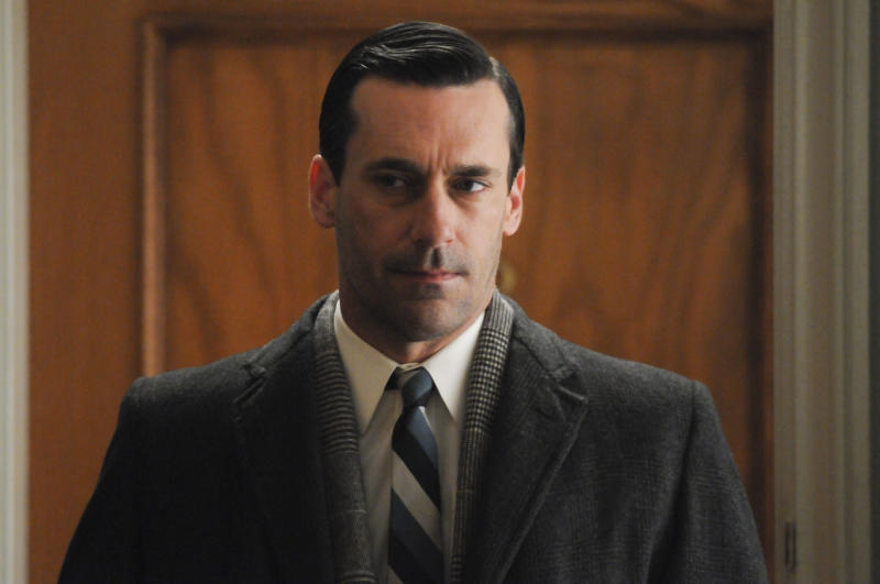 "This publicity image released by AMC shows Jon Hamm as Don Draper in a scene from the finale of ""Mad Men."" The popular drama ended its fifth season on Sunday, June 10, 2012. (AP Photo/AMC, Michael Yarish)"