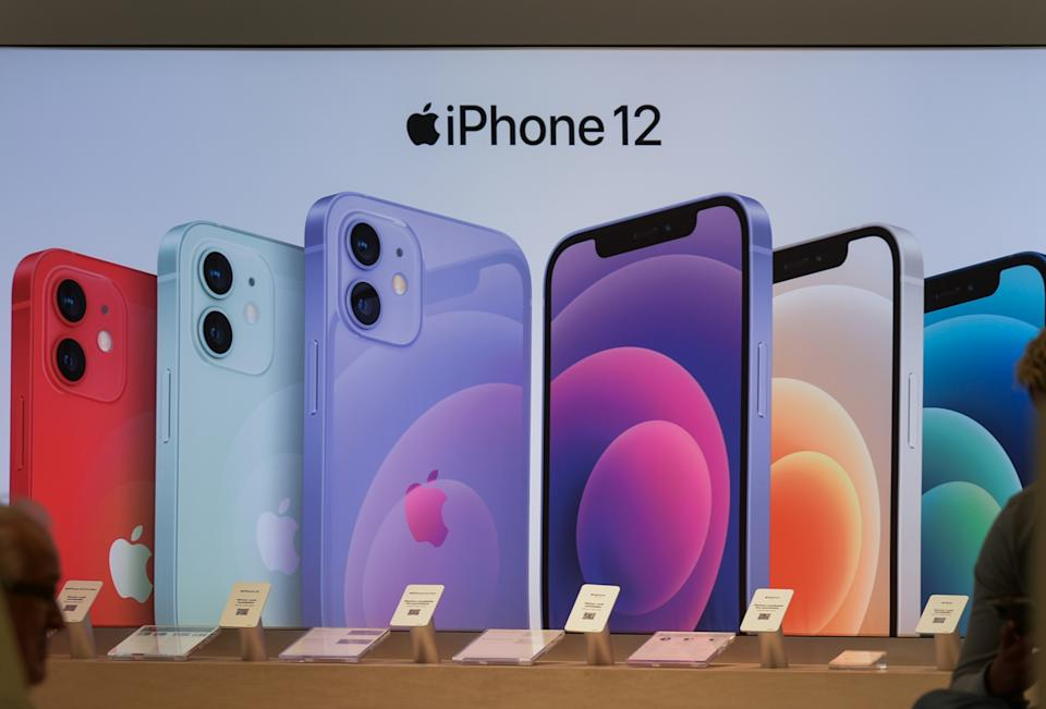 The iPhone 12 advertisment inside an Apple shop. On Tuesday, 17 August 2021, in Edmonton, Alberta, Canada. (Photo by Artur Widak/NurPhoto via Getty Images)