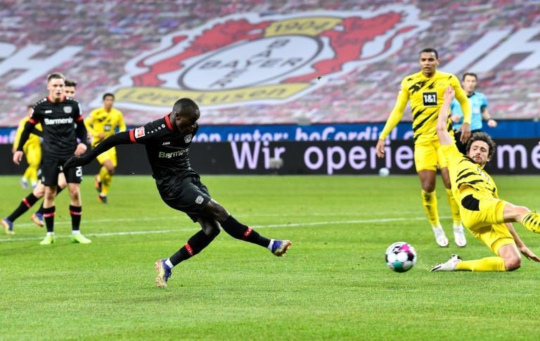 Moussa Diaby fires Bayer Leverkusen ahead against Borussia Dortmund on Tuesday
