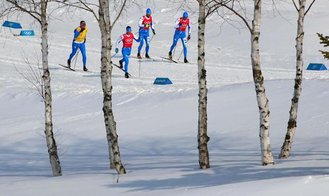 Cross-Country Skiing - Pyeongchang 2018 Winter Olympics - Men's 50km Mass Start Classic Training - Alpensia Cross-Country Skiing Centre - Pyeongchang, South Korea - February 23, 2018 - Athletes from team Italy train. REUTERS/Carlos Barria
