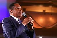 Newsom's main opponent was Larry Elder, 69, a right-wing talk radio star who has spoken proudly of his support for ex-president Donald Trump (AFP/MARIO TAMA)