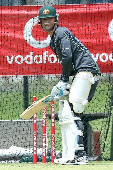 BRISBANE, AUSTRALIA - NOVEMBER 06:  Michael Clarke of Australia bats during an Australian nets session at The Gabba on November 6, 2012 in Brisbane, Australia.  (Photo by Chris Hyde/Getty Images)