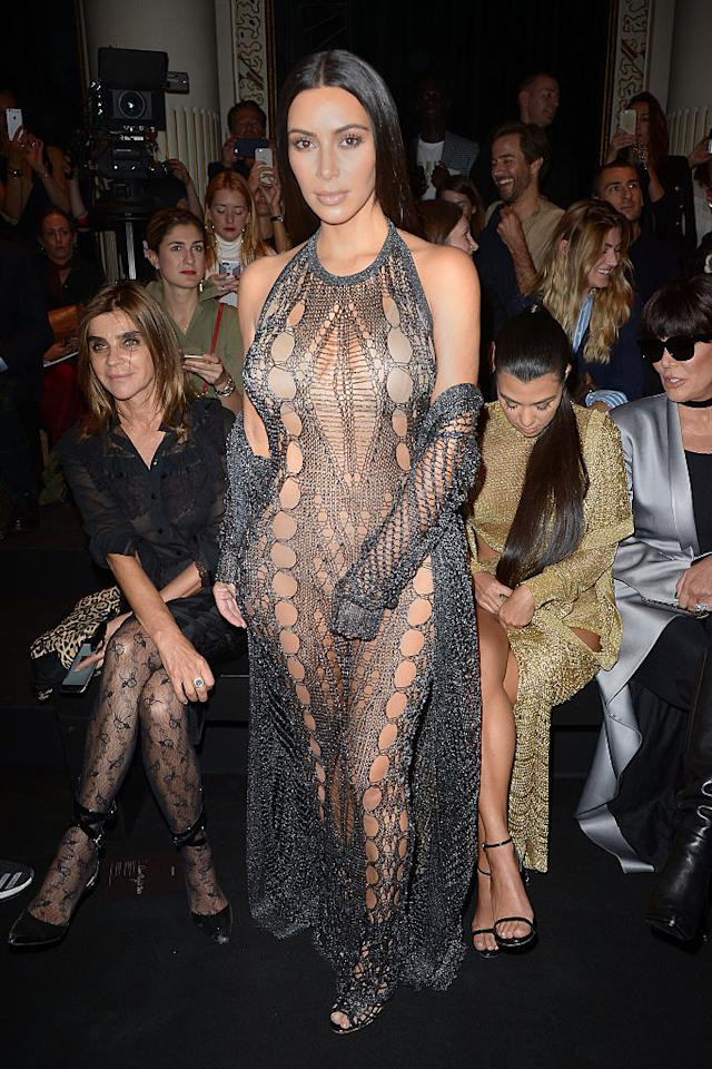 <p><b>When: Sept. 29, 2016 </b><br />The brunette beauty wore this revealing, metal mesh Balmain design at the Balmain show for Paris Fashion Week. The dress was so revealing that it appears she had to use her hand to cover up certain lady parts. <i> (Photo: Getty) </i> </p>