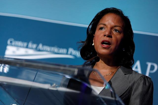 Former National Security Advisor Susan Rice speaks at the Center for American Progress Ideas Conference in 2017. (Aaron Bernstein / Reuters)