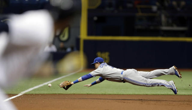 <p>Toronto Blue Jays third baseman Chris Coghlan dives but can't come up with a double by Tampa Bay Rays' Evan Longoria during the first inning of a baseball game Friday, May 5, 2017, in St. Petersburg, Fla. (Photo: Chris O'Meara/AP) </p>
