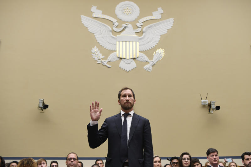 JUUL Labs co-founder and Chief Product Officer James Monsees is sworn in to testify before a House Oversight and Government Reform subcommittee on Capitol Hill in Washington, Thursday, July 25, 2019, during a hearing on the youth nicotine epidemic. (AP Photo/Susan Walsh)