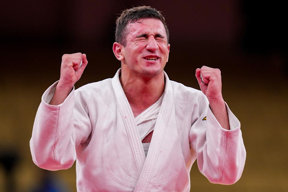 <p>TOKYO, JAPAN - JULY 28: Lasha Bekauri of Georgia competing on Men -90 kg during the Tokyo 2020 Olympic Games at the Nippon Budokan on July 28, 2021 in Tokyo, Japan (Photo by Yannick Verhoeven/BSR Agency/Getty Images)</p>