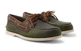 Two-tone Top-Sider leather boat shoes