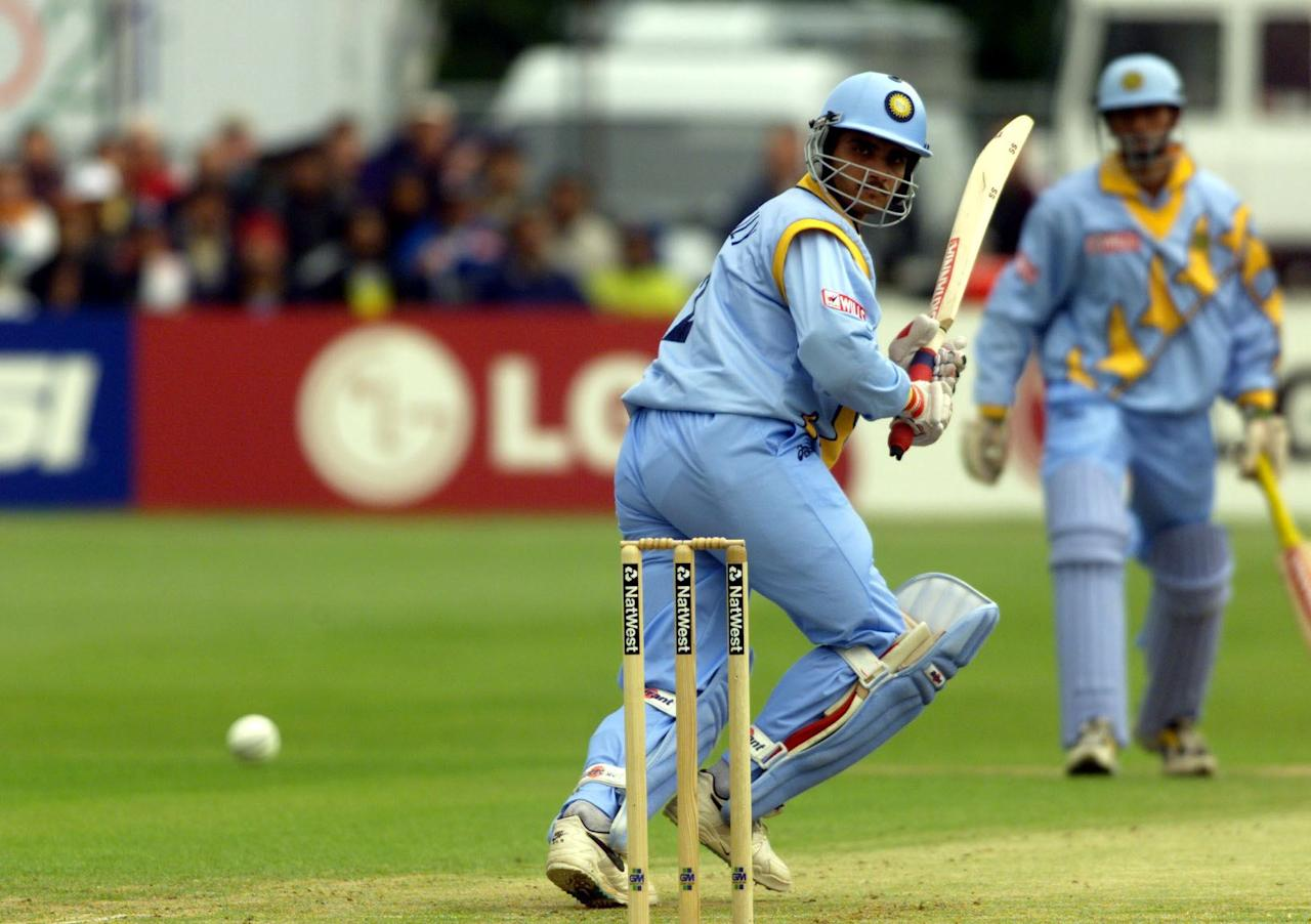 India's opening batsman Saurav Ganguly hits Kenyan bowler Joseph Angara for four runs 23 May 1999, during their Cricket World Cup match at Bristol. India must win the match to remain in the competition. ELECTRONIC IMAGE.
