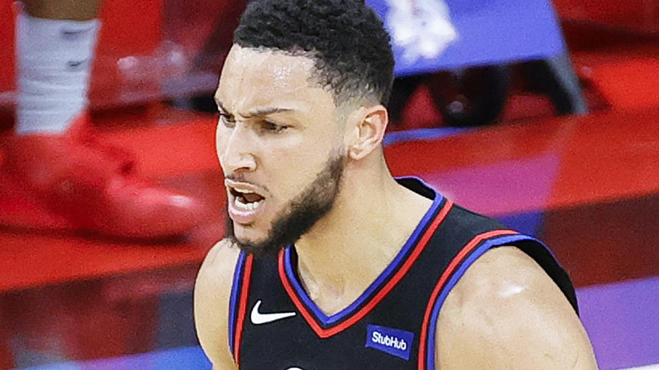 Ben Simmons had 15 assists to go with six points in an impressive playoff victory for the Sixers over the Washington Wizards.  (Photo by Tim Nwachukwu/Getty Images)