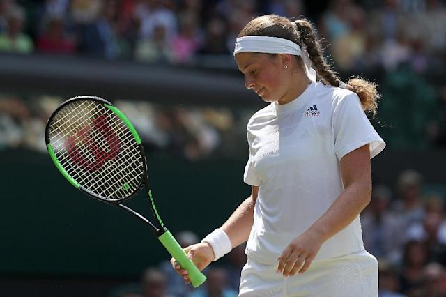 Latvia's Jelena Ostapenko misfired in the Wimbledon semi-finals (AFP Photo/DANIEL LEAL-OLIVAS)